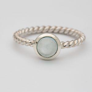 Aquamarine Polished gemstone twisted ring, sterling silver