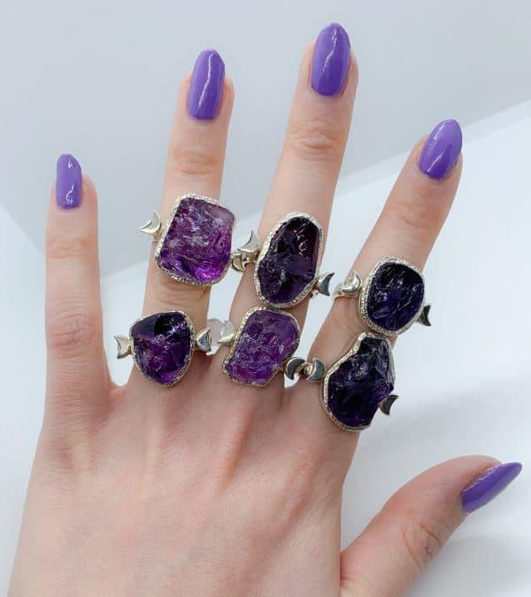 Amethyst large gemstone moon rings, sterling silver