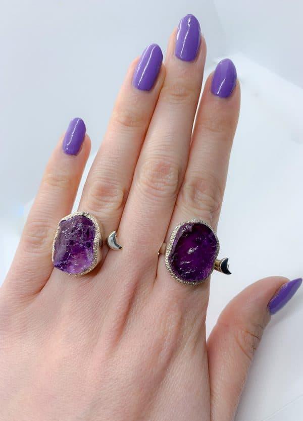 Raw Amethyst adjustable rings, sterling silver