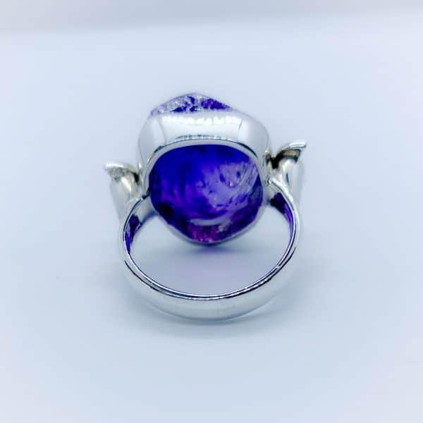 Amethyst Raw gemstone ring, sterling silver