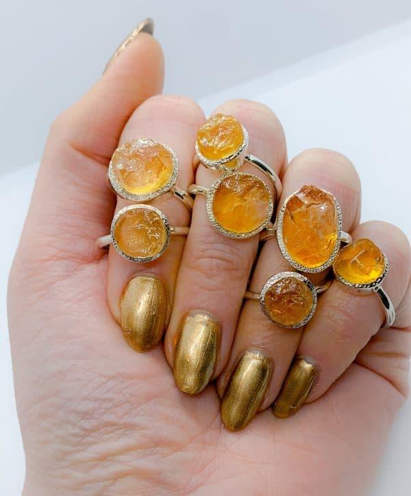 Citrine Large Raw gemstone rings , sterling silver