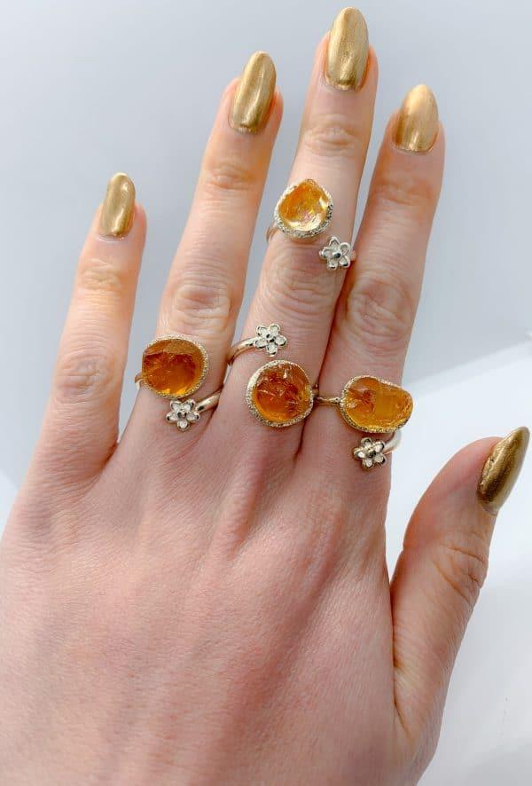 Citrine Raw gemstone adjustable rings , sterling silver