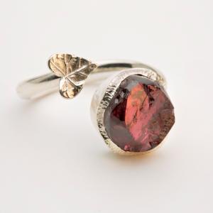 Raw Garnet gemstone adjustable ring sterling silver