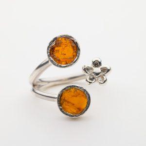 Raw Citrine Flower gemstone ring handmade silver adjustable