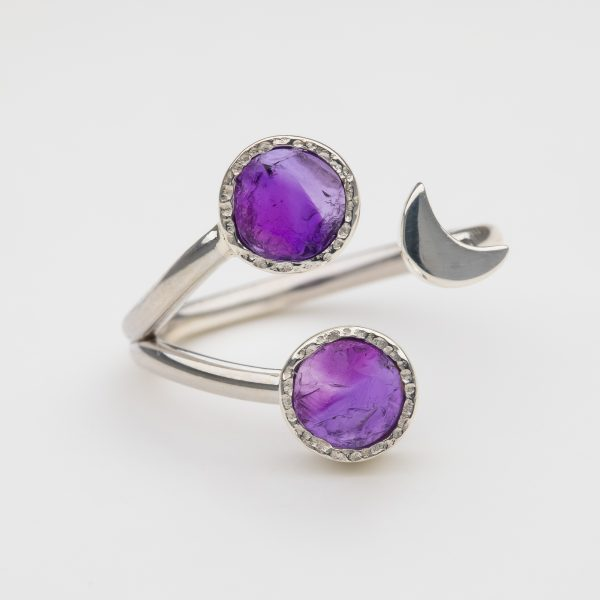 Raw Amethyst moon gemstone ring handmade silver adjustable