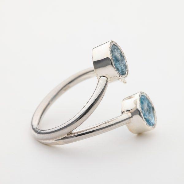 Raw Aquamarine butterfly gemstone ring handmade silver adjustable
