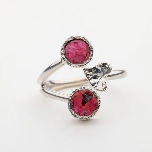 Raw Garnet heart gemstone ring handmade silver adjustable