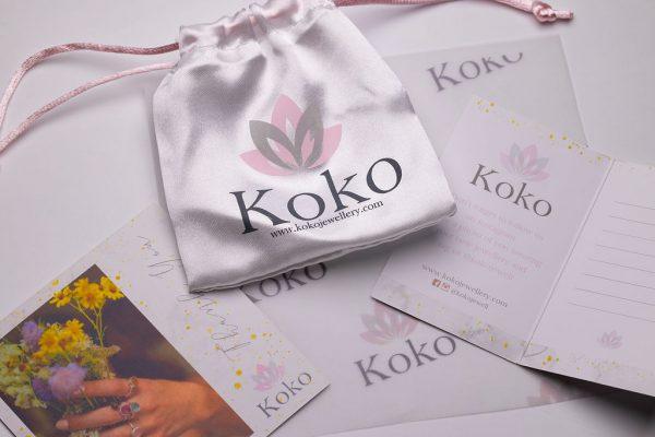 Koko Jewellery packaging satin bag and gift tag