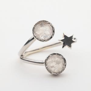 Raw Moonstone star gemstone ring handmade silver adjustable