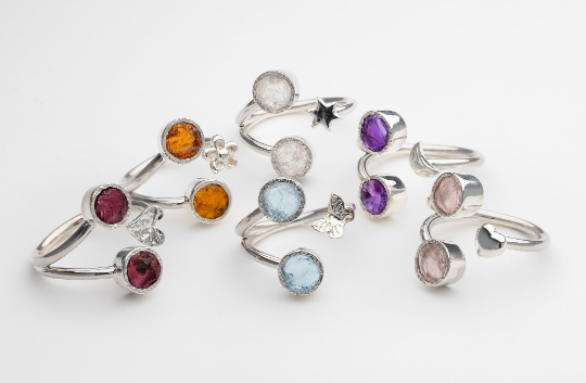 Raw 2 stone gemstone ring handmade silver adjustable