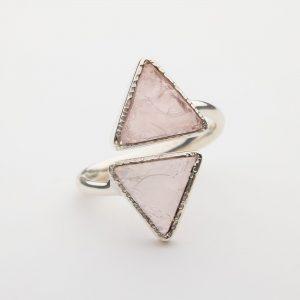 Raw Rose Quartz triangle gemstone ring sterling silver adjustable