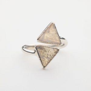 Raw Moonstone triangle gemstone ring sterling silver adjustable
