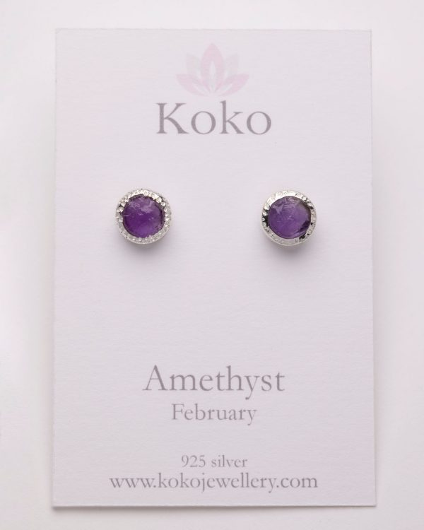 Raw Amethyst gemstone stud earrings sterling silver