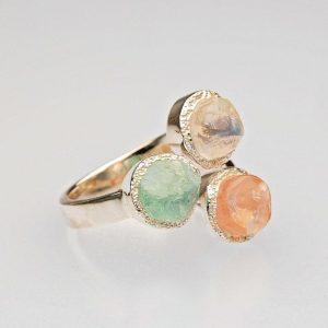 Raw Aquamarine Moonstone and Rose quartz silver ring