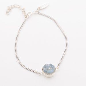Raw crystal aquamarine bracelet sterling silver