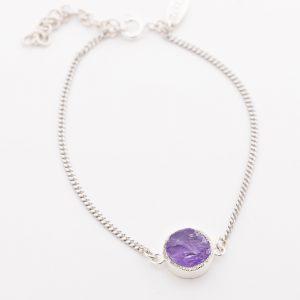 Raw crystal amethyst bracelet sterling silver