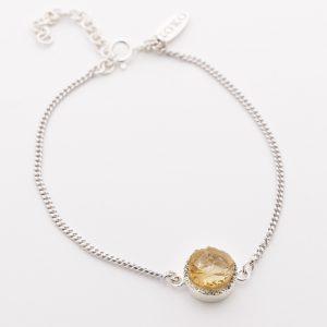 Raw crystal citrine bracelet sterling silver