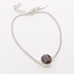 Raw crystal garnet bracelet sterling silver