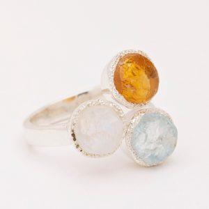 raw gemstone, citrine, aquamarine, moonstone ring silver