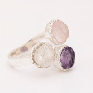 raw gemstone, amethyst, rose quartz, moonstone ring silver