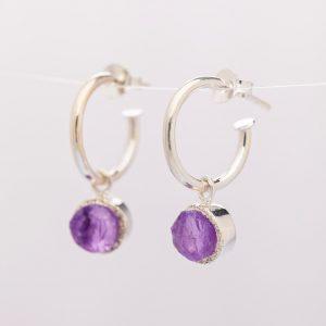 raw amethyst gemstone hoop earrings sterling silver