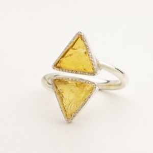 citrine raw gemstone triangle ring silver