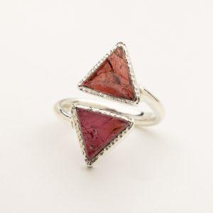 garnet raw gemstone adjustable triangle ring silver