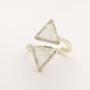 aquamarine raw gemstone triangle ring silver